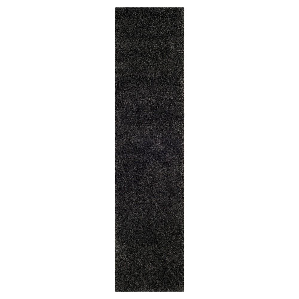 Dark Gray Solid Shag Flokati Loomed Runner 2 39 X10 39 Runner Safavieh