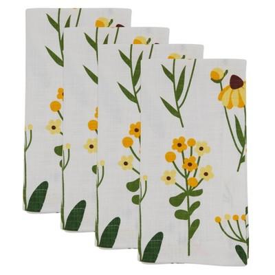 4pk Cotton Floral Daisy Table Napkins - Saro Lifestyle