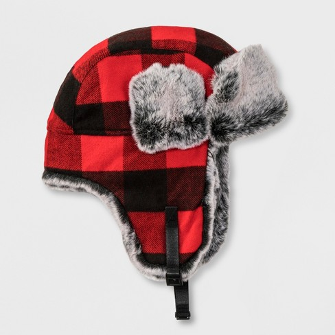 Boys  Plaid Trapper Hat - Cat   Jack™ Red One Size   Target 59c698804d2