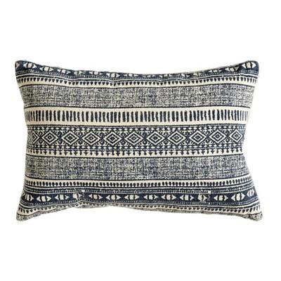 Cotton Throw Pillow - Natural/Blue - 3R Studios