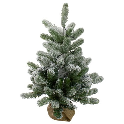 Northlight 2' B/O Potted Frosted Pine Medium Artificial Christmas Tree in a Burlap Pot- Warm White Lights