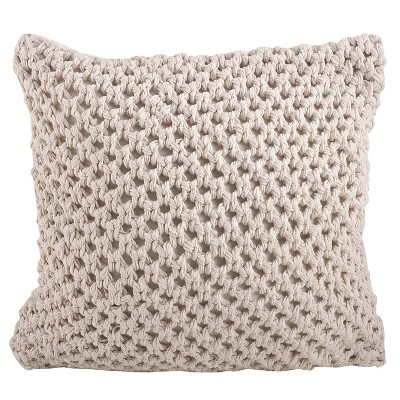 Vanilla Knitted Design Throw Pillow (20 x20 )Saro Lifestyle