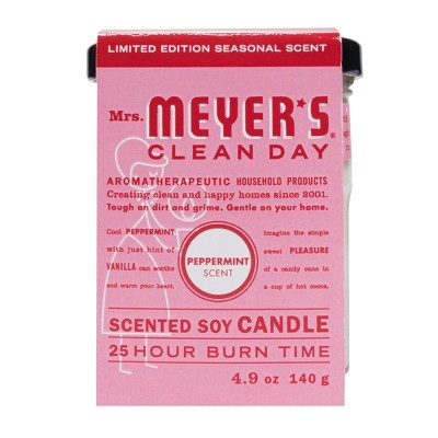Mrs. Meyer's Peppermint Scented Soy Glass Candle - 4.9oz