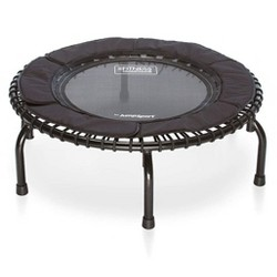 JumpSport 250 In Home Cardio Fitness Safely Cushioned Rebounder Mini Trampoline with Premium Bungees and Workout DVD, Black