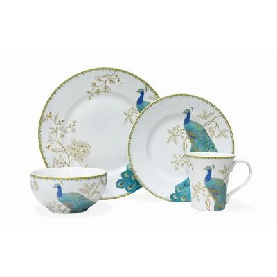 16pc Porcelain Peacock Garden Dinnerware Set White/Blue - 222 Fifth