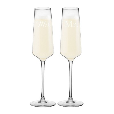 "9.5oz ""Mr. and Mrs"" Wedding Champagne Estate Glasses"