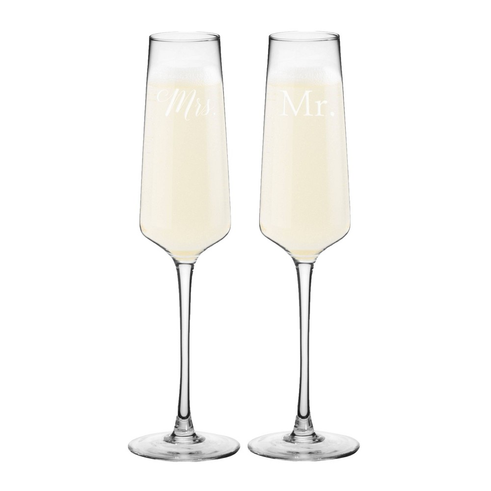 9.5oz Mr. and Mrs. Wedding Champagne Estate Glasses - Cathy's Concepts, Clear
