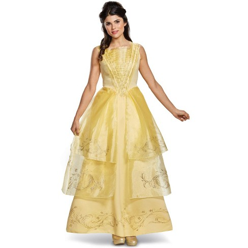 Beauty And The Beast Belle Ball Gown Deluxe Adult Costume Medium 8 10 Target
