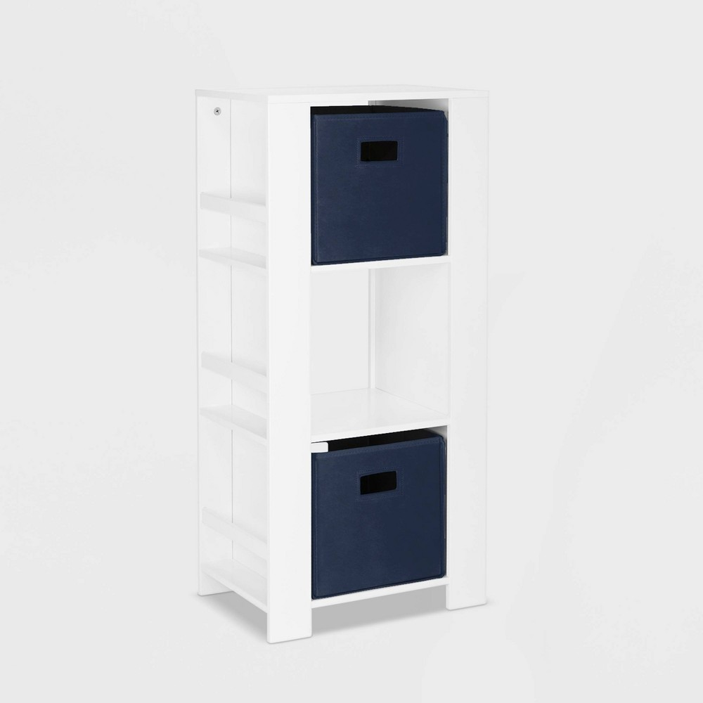 Image of 2pc Bin Book Nook Kids Cubby Storage Tower with Bookshelves Navy - RiverRidge
