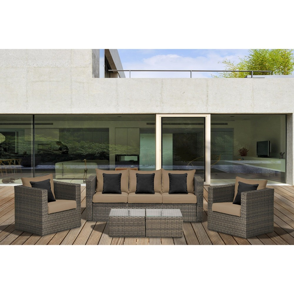 Atlantic Furniture Camaro 5-Piece Wicker Patio Conversation Furniture Set, Brown