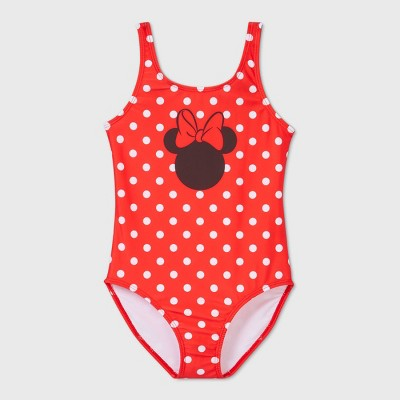 Girls' Minnie Mouse One Piece Swimsuit - Red