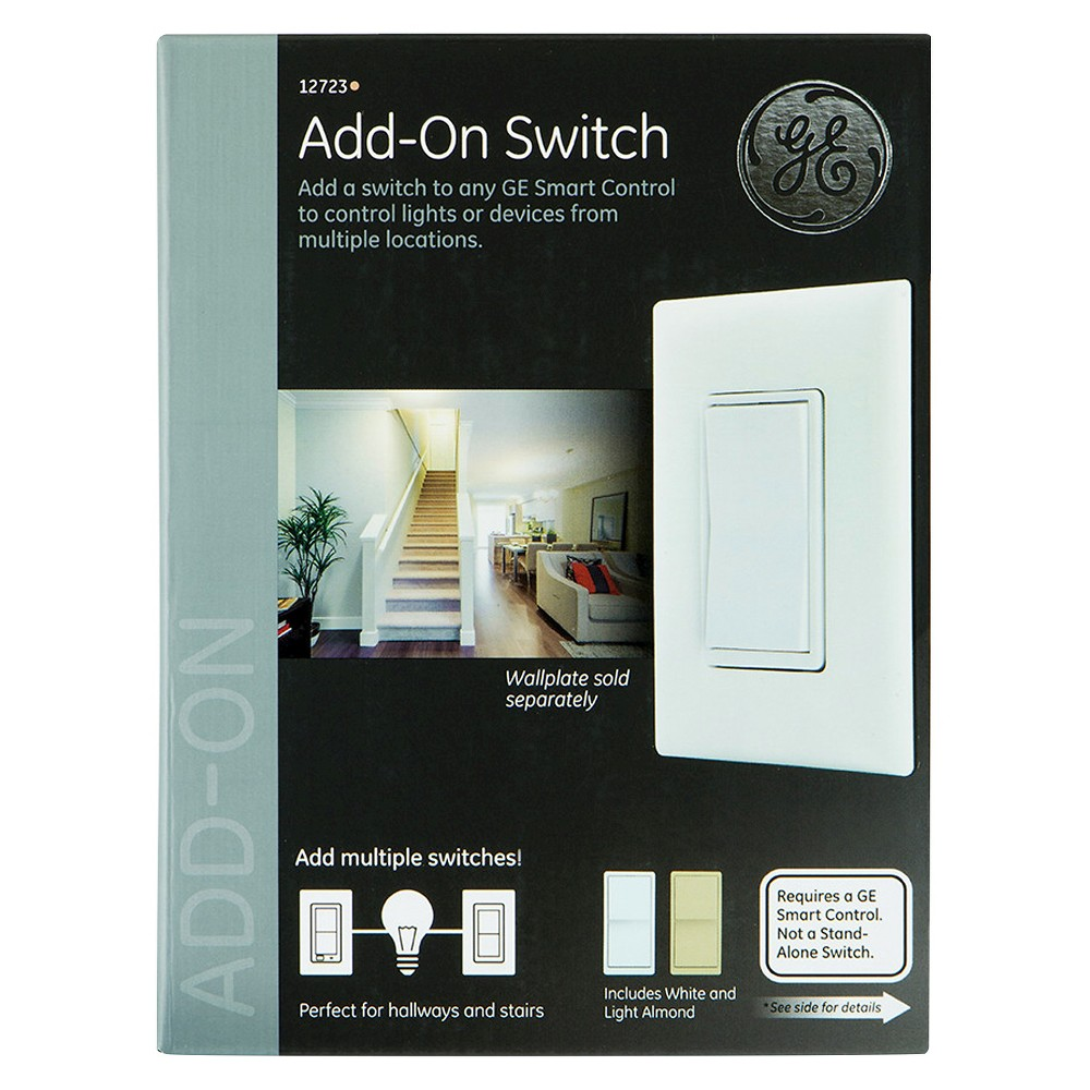 GE Add-On Smart Home Switch with White and Ivory Paddles (12723)