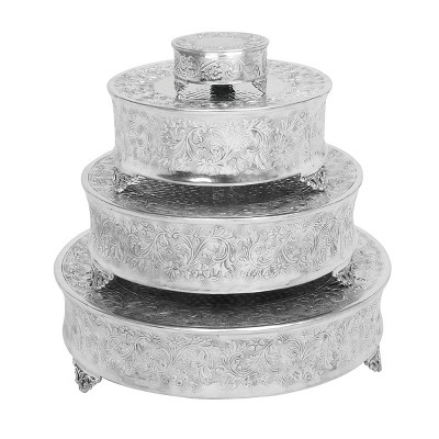 Set of 4 Round Traditional Aluminum Cake Stands Silver - Olivia & May