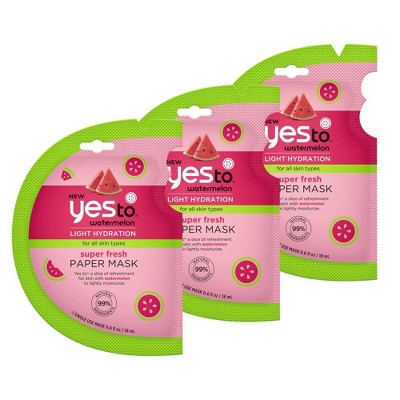 Yes To Watermelon Paper Mask Skincare Set - 3ct/0.6 fl oz each
