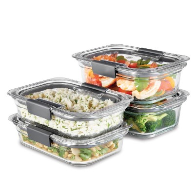 Rubbermaid 8pc Brilliance Glass Food Storage Containers, Set of 4 Food Containers with Lids BPA Free and Leak Proof