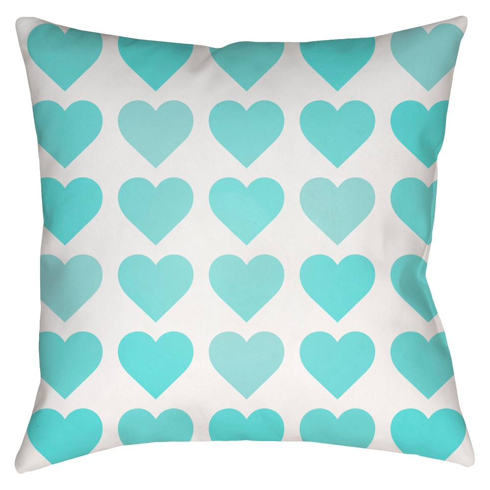 Teal (Blue) Hearts Print Throw Pillow 16