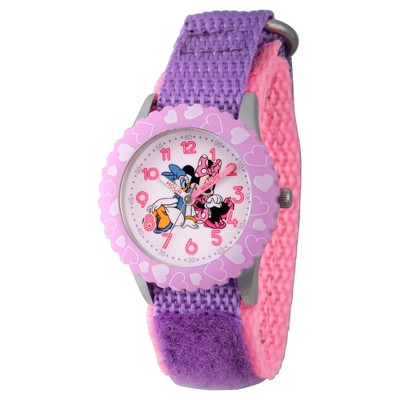 Girls' Disney Minnie Mouse and Daisy Duck Stainless Steel Time Teacher Watch - Purple