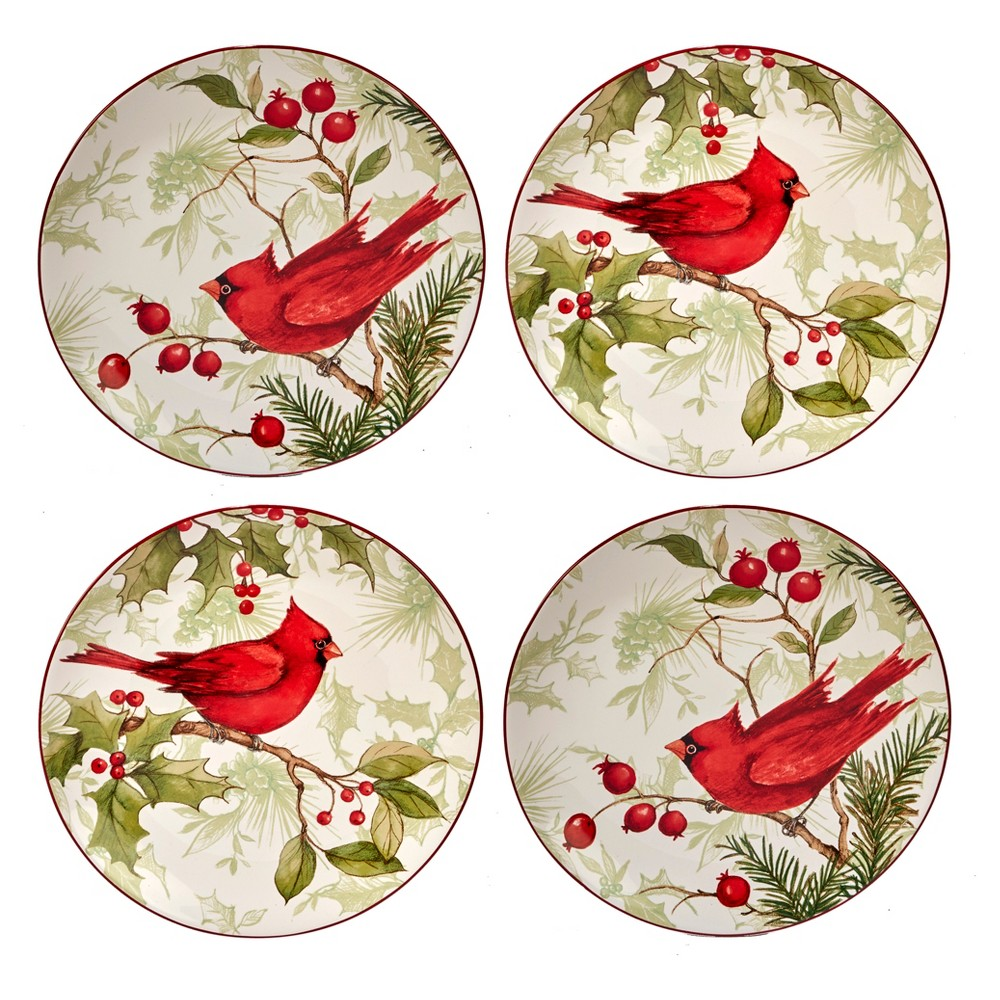 Certified International Winter Field Notes Ceramic Dessert Plates 9 Red - Set of 4