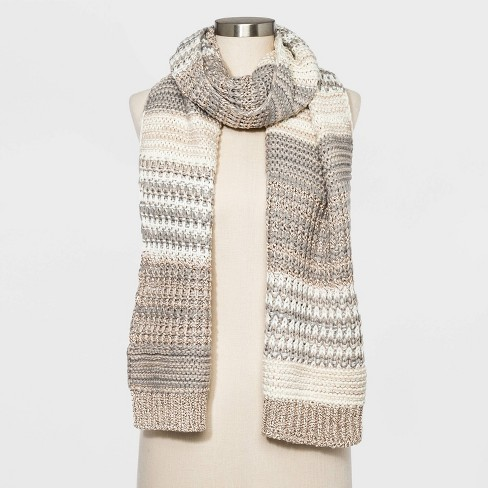 Women's Striped Neutral Oblong Scarf - Universal Thread™ One Size - image 1 of 2