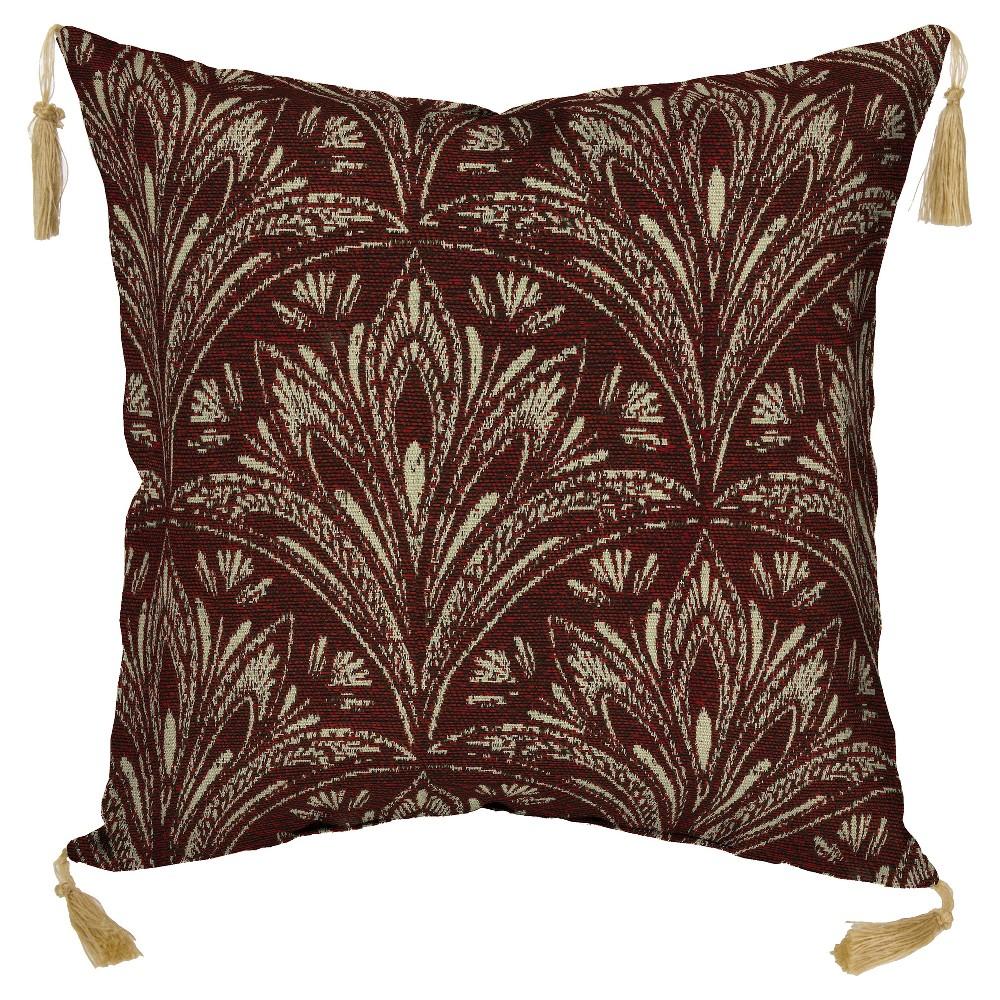 Royal Zanzibar 2pc Outdoor Toss Pillow w/ Tassels - 2pc Outdoor - Bombay Outdoors, Berry Red