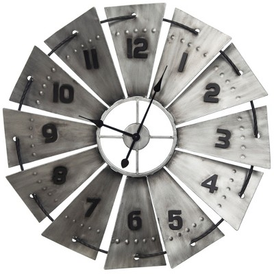 31  Galvanized Metal and Wood Windmill Wall Clock Silver - Gallery Solutions