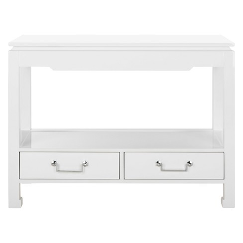 Corbell 2 Drawer Lacquer Console Table White - Safavieh - image 1 of 8