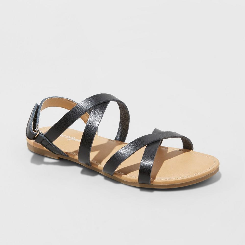 Girls' Nia Strappy Ankle Strap Sandals - Cat & Jack Black 3