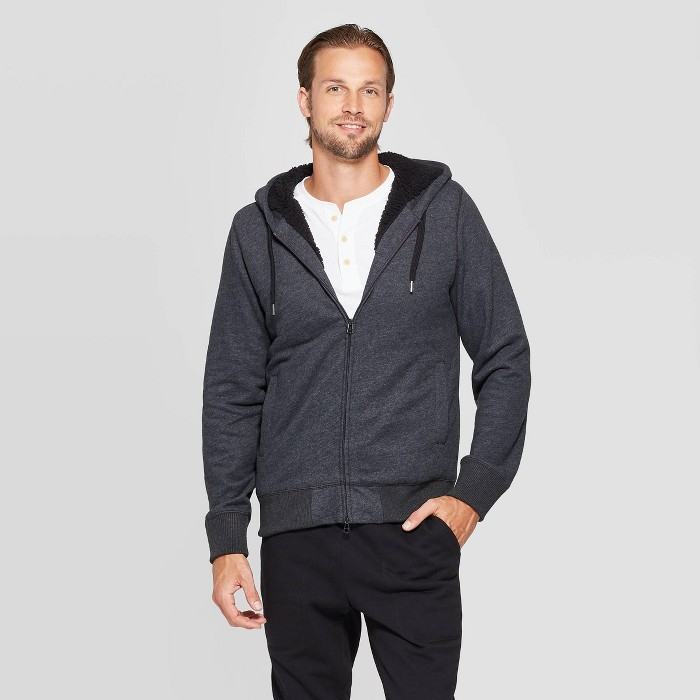 Men's Standard Fit Sherpa Lined Softshell Jacket - Goodfellow & Co™ Charcoal Heather - image 1 of 2