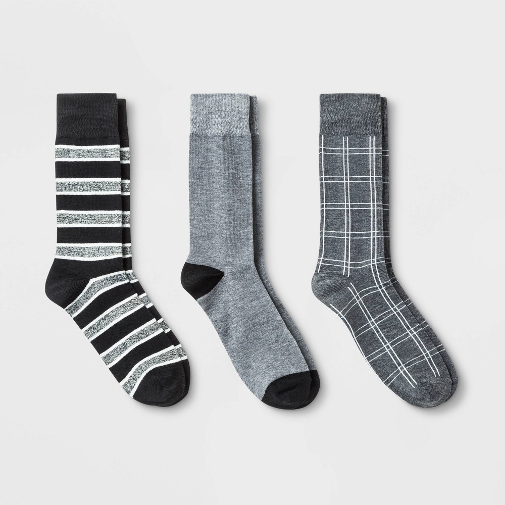 Image of Men's Plaid 3pk Holiday Crew Socks - Goodfellow & Co Gray 6-12, Men's, Size: Small