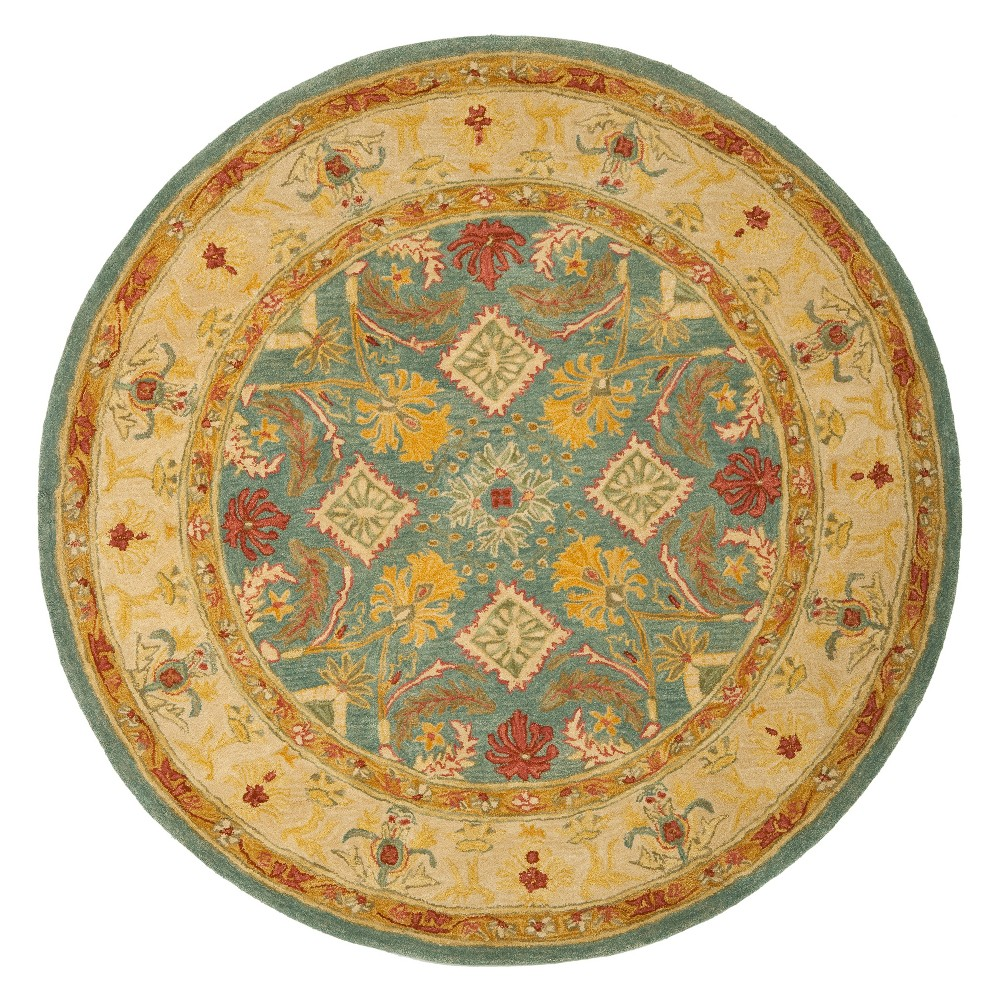 8' Floral Round Area Rug Light Blue/Ivory - Safavieh, White Blue