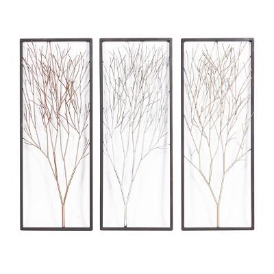 "(Set of 3) 13"" x 32"" Metal Tree Wall Decor Panels Silver/Gold - Olivia & May"