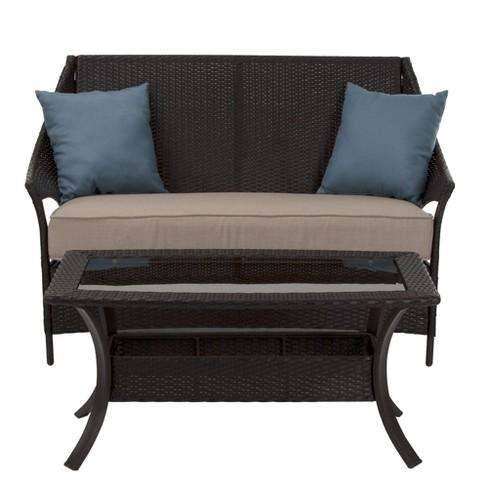 Cosco Lakewood Isle 2pc Resin Wicker Coffee Table Love Seat Dark Brown Tan Blue