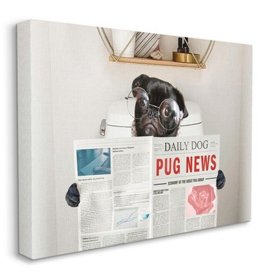 Stupell Industries Bathroom Pug Daily Toilet Briefing Dog Humor