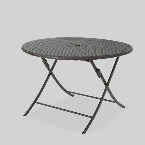 Riad Round Wicker Outdoor Patio Foldable Dining Table - Brown - Christopher Knight Home - image 1 of 5