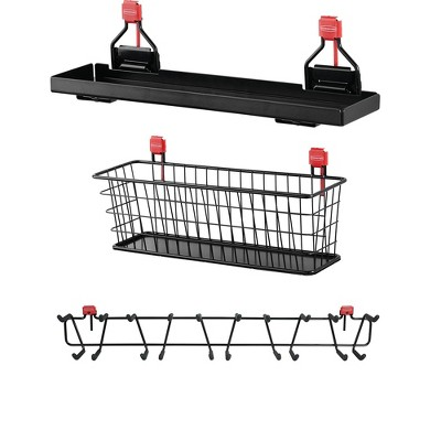 Rubbermaid Metal Outdoor Storage Accessory Shelf (1 Pack); Mounted Wire Basket Organizer Shelf (1 Pack); 34 Inch 50 Pound Capacity Tool Rack (1 Pack)