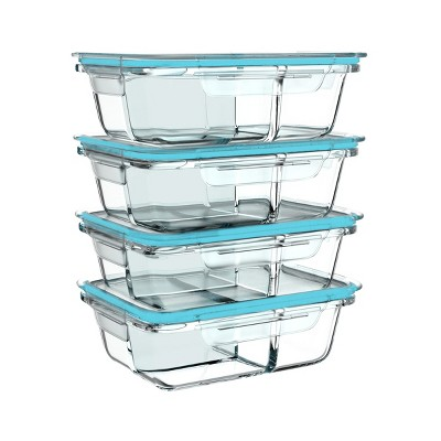 Hastings Home 3-Compartment Glass Food Storage Containers With Lids – 8 Pcs