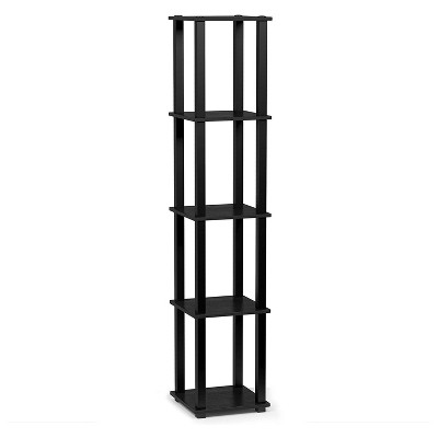 Furinno Turn-N-Tube 5 Tier Wooden PVC Corner Display Shelf and Bookcase for Living Room, Dining Room, Bedroom, and Office Spaces, Americano Black