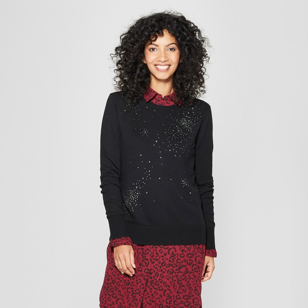 Women's Crew Neck Shine Pullover Sweater - A New Day Black XL