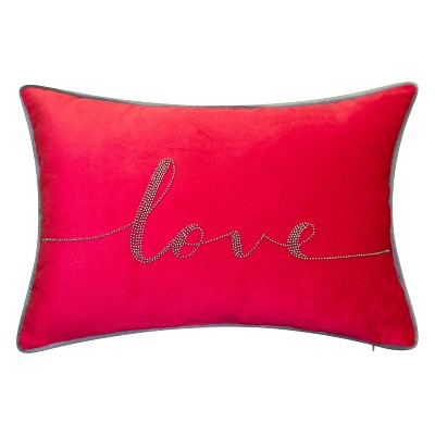 "12""x18"" Poly-Filled Beaded 'Love' Luxe Velvet Lumbar Throw Pillow- Edie@Home"
