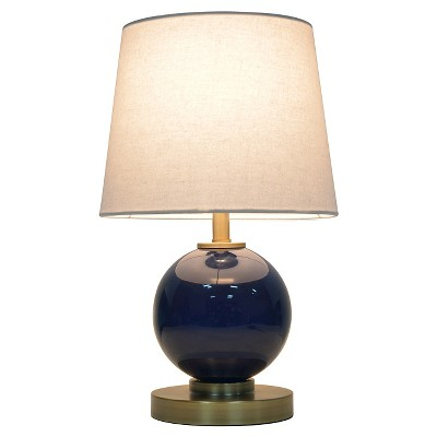 Glass Table Lamp with Touch On/Off Navy - Pillowfort™