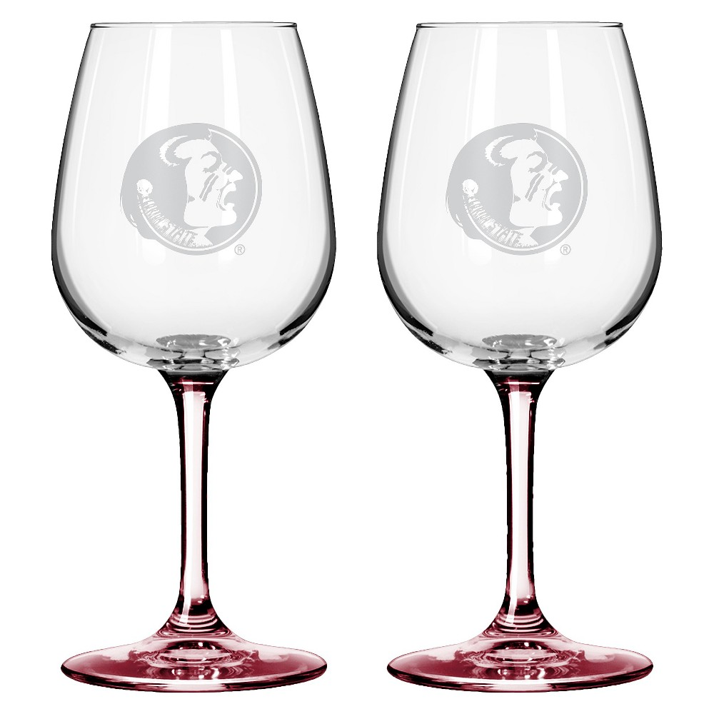 NCAA Satin Etch Wine Glass 12oz 2pk - Florida State Seminoles