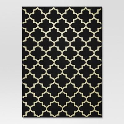 5'x7' Fretwork Design Area Rug Black - Threshold™
