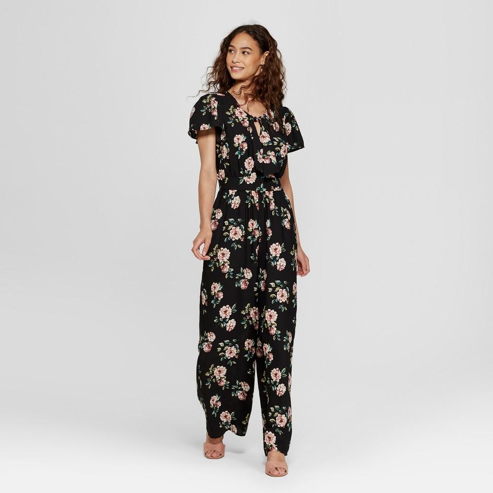 Women's Short Sleeve Tie Front Floral Jumpsuit - Xhilaration Black XS