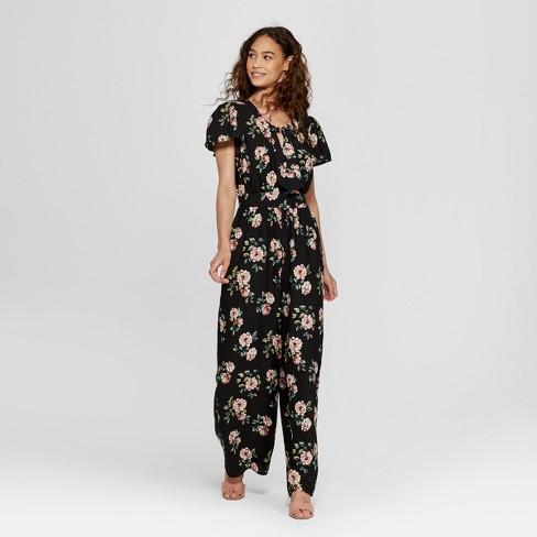 12e586e7b2dc Women s Short Sleeve Tie Front Floral Jumpsuit - Xhilaration™ Black ...
