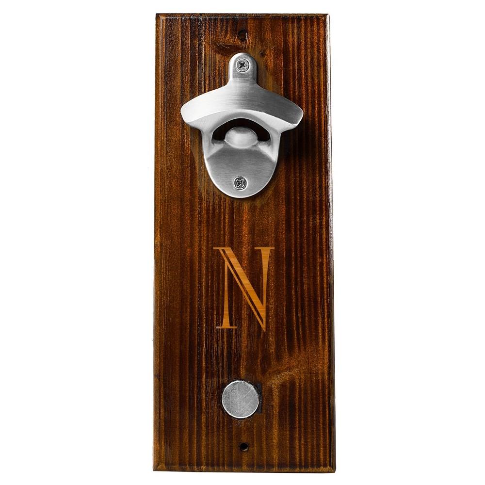 Monogram Groomsmen Gift Rustic Wall Mount Bottle Opener With Magnetic Cap Catcher - N, Brown