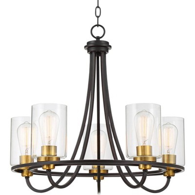 """Possini Euro Design Oil Rubbed Bronze Chandelier 23"""" Wide Modern Industrial Clear Glass 5-Light Fixture Dining Room House Kitchen"""
