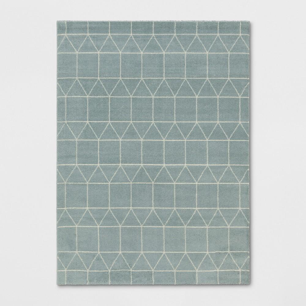 9'2X12' Woven Geometric Area Rug Aqua (Blue) - Project 62