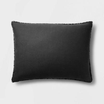 King Euro Heavyweight Linen Blend Throw Pillow Washed Black - Casaluna™