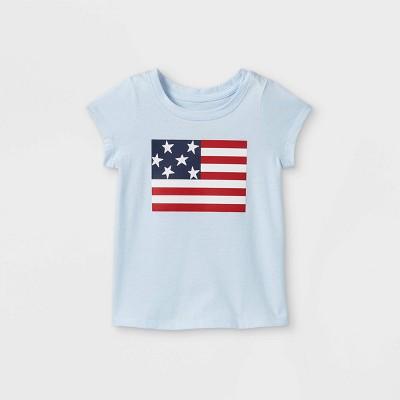 Toddler Girls' Glitter Flag Graphic T-Shirt - Cat & Jack™ Light Blue