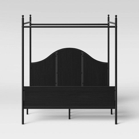 Southwick Farmhouse Queen Size Metal Bed With Wood Panel And Canopy Black Threshold